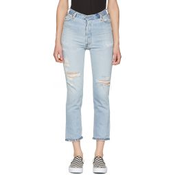 Indigo Levi's Edition No Destruction High-Rise Ankle Crop Jeans