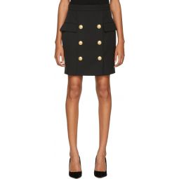 Black Wool Six-Button Miniskirt