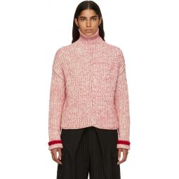 Red & Off-White Thick Turtleneck