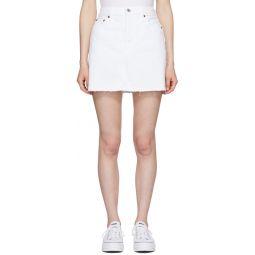 White High Waisted Denim Miniskirt