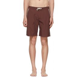 Burgundy Piped Board Shorts
