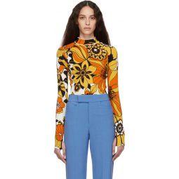 Orange Floral Jacquard Bodysuit