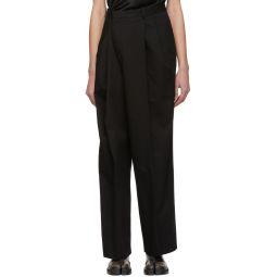 Black Cotton Asymmetric Trousers