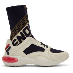 White & Navy 'Fendi Mania' Sock Sneakers
