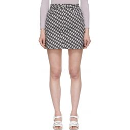 Black & White Denim Check Miniskirt