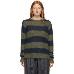 Navy & Green Chunky Mohair Sweater