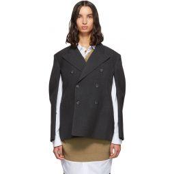 Grey Wool Double-Breasted Blazer
