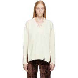 Off-White Destroyed V-Neck Sweater