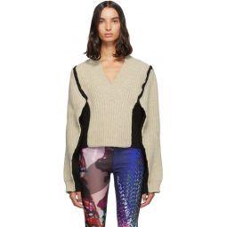 Beige Gauge 3 Panelled V-Neck Sweater