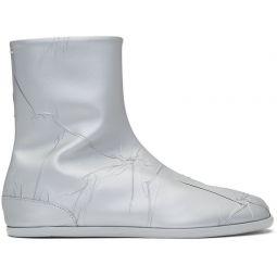 Silver Metallic Flat Tabi Boots