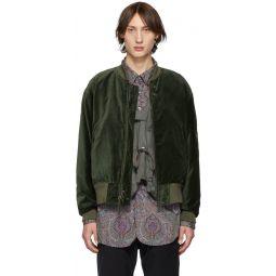 Green Velvet Bomber Jacket
