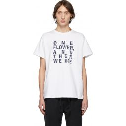 White & Navy Text T-Shirt