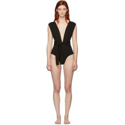 Black Crepe Band V One-Piece Swimsuit