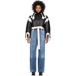Black & White Short Cowboy Collar Coat