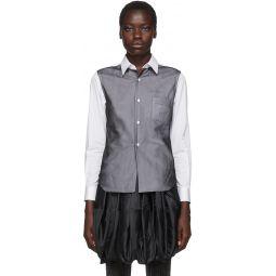 White & Black Thin Georgette Overlay Shirt