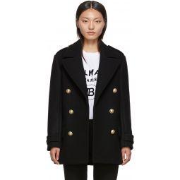 Black Wool Short 6-Button Coat