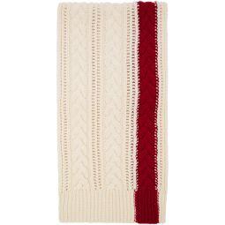 White & Red Stripe Scarf