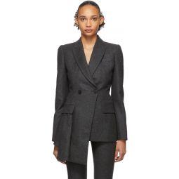 Grey Asymmetric Tailored Blazer