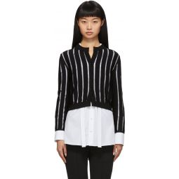 Black Sheer Striped Short Cardigan