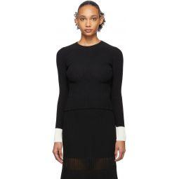 Black & White Contrast Cuffs Sweater