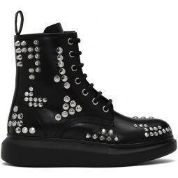 Black Studded Hybrid Lace-Up Boots