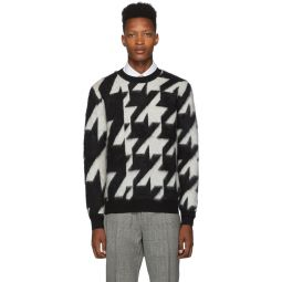 Black & Off-White Dogtooth Jacquard Sweater