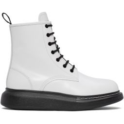 White Leather Lace-Up Boots