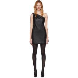 Black Faux-Leather One Shoulder Dress