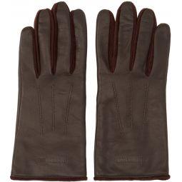 Burgundy Leather & Velvet Classic Gloves