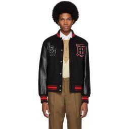 Black Wool & Leather Padfield Bomber Jacket