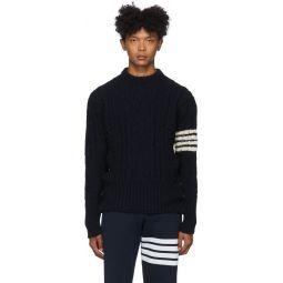 Navy Aran Cable 4-Bar Sweater