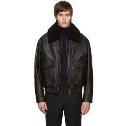Black Shearling Grained Jacket