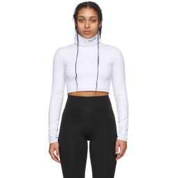White Embroidered Logo Cropped Turtleneck