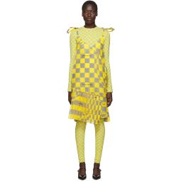Yellow & Grey Checked Bubble Dress