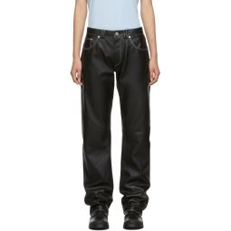 Black Leather Straight-Leg Trousers