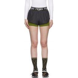 Grey & Green Underlay Shorts