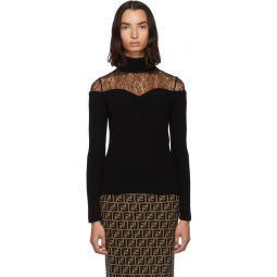 Black Lace Knit Turtleneck