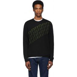 Black & Green Wool 'Forever Fendi' Asymmetric Logo Sweater