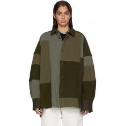 Green Fleece Patchwork Shirt