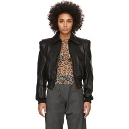 Black Leather Americana Zip Jacket