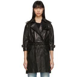 Black Leather Three-Quarter Sleeve Trench Jacket