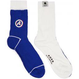 White & Blue Different Tissue Socks