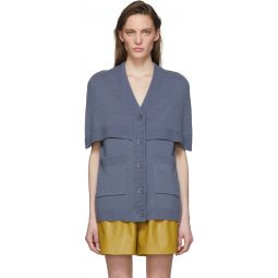 Blue Spring Cocoon Cape Cardigan
