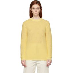 Yellow Crispy Cotton Crewneck Sweater