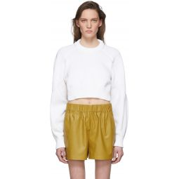 White Tube Yarn Open Back Sweater