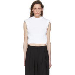 White Tube Yarn Sleeveless Sweater