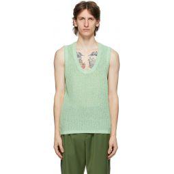 Green Crispy Cotton Sweater Vest