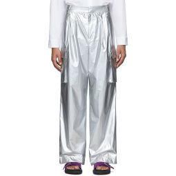 Silver Nylon Pleated Cargo Pants
