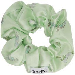 Green Silk Satin Floral Scrunchie