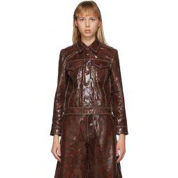Brown Leather Snake Foil Jacket